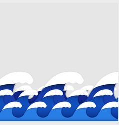 Origami paper art style of sea waves vector