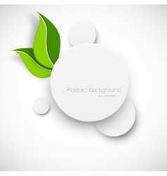 Paper white circle with leaves vector image vector image