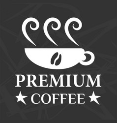 Premium coffee symbol and cup vector