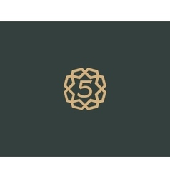 Premium number 5 logo icon design luxury vector