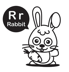 R rabbit cartoon and alphabet for children to vector