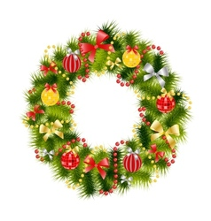 realistic christmas wreath vector image