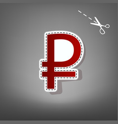 Ruble sign red icon with for applique vector