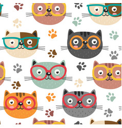 seamless pattern with cute faces cats vector image vector image
