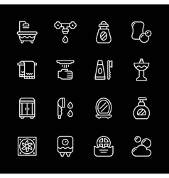 Set line icons of bathroom vector image