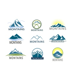 Set of logo Icon Montains in color Climbing label vector image vector image
