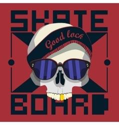 skull skateboard design work vector image