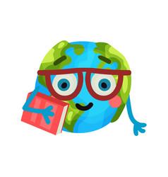 smart cartoon funny earth planet emoji wearing vector image vector image