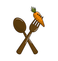 Spoon and fork with organic carrot vegetable vector