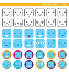 Square emoticons vector
