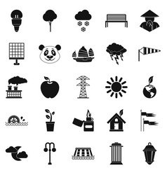 street lighting icons set simple style vector image