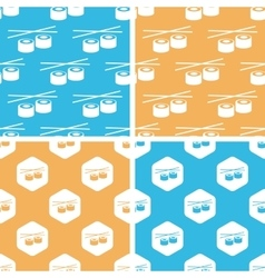 Sushi rolls pattern set colored vector