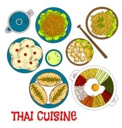 Vegetarian dinner of thai cuisine sketch icon vector