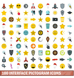 100 interface pictogram icons set flat style vector