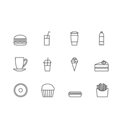 Snacks desserts and beverage outline icon set vector