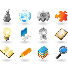 Isometric-style icons for science and industry vector