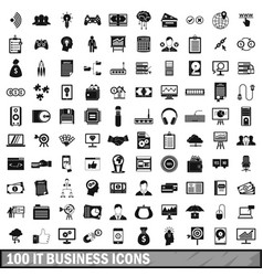 100 it business icons set simple style vector image