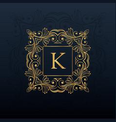 classic floral monogram design for letter k logo vector image