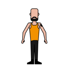 Colorful caricature image faceless man bald with vector