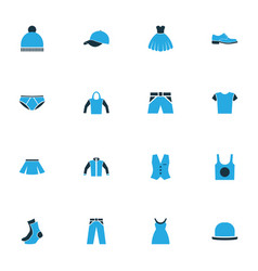 Garment colorful icons set collection of cap vector