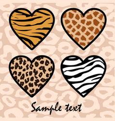 Animal print hearts vector