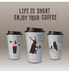 Take-out coffee in thermo cup enjoy your coffee vector