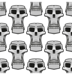 Seamless pattern of spooky halloween skulls vector