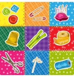 Sewing patchworks set vector