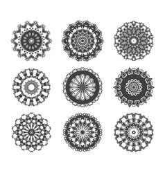 Circle vignette lace decorations set vector