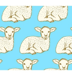 Sketch cute lamb in vintage style vector