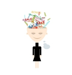 Girl thinks about shopping abstract concept vector