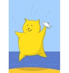 Triumphant fidget with a fish vector image