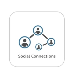 Social connections icon flat design vector
