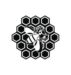 Honeycomb and bee black simple icon vector