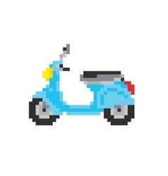 Scooter motorbike in pixel art style isolated vector