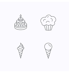 Cake ice cream and muffin icons vector