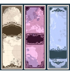 Set of three vintage bookmarks with map parts vector image