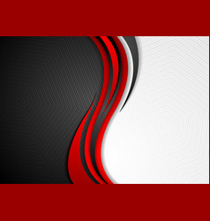 abstract red black grey wavy tech background vector image