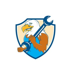 American bald eagle mechanic wrench shield cartoon vector