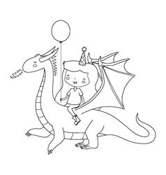 Birthday girl on dragon vector