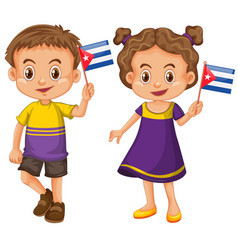 Boy and girl holding flag of cuba vector