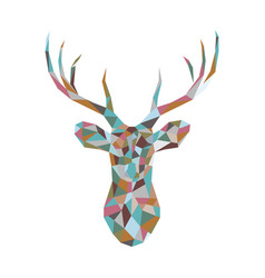 colorful polygonal deer head vector image vector image