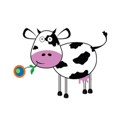 Cow with a flower vector