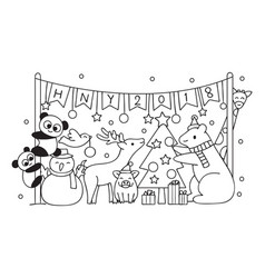 Cut animals in christmas party vector