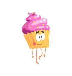 cute sweet cupcake character cartoon funny vector image vector image