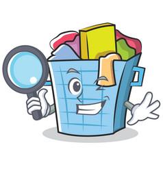 Detective laundry basket character cartoon vector