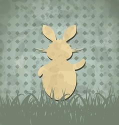 Easter happy vintage poster with rabbit and grass vector