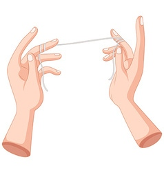 Flossing string wrapped on the fingers vector