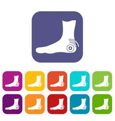 Foot heel icons set flat vector