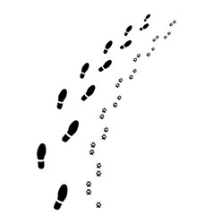 Footprints of man and dog vector